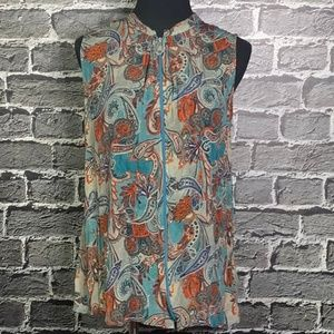 Trisha Tyler Sz M Sleeveless Paisley Top